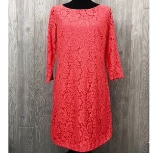 Vince Camuto Orange lace long sleeve midi dress